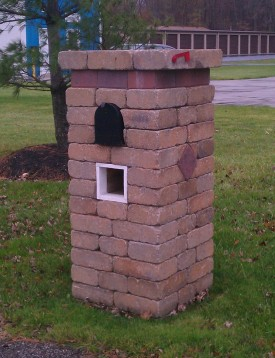 Paver mailbox with newspaper shoot