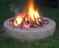 Outdoor wood burning firepit